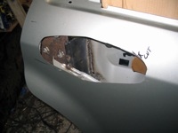 Removed door handle for relocation